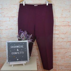 Kate Spade Maroon Ankle Trouser Pants EUC Sz 14 B1